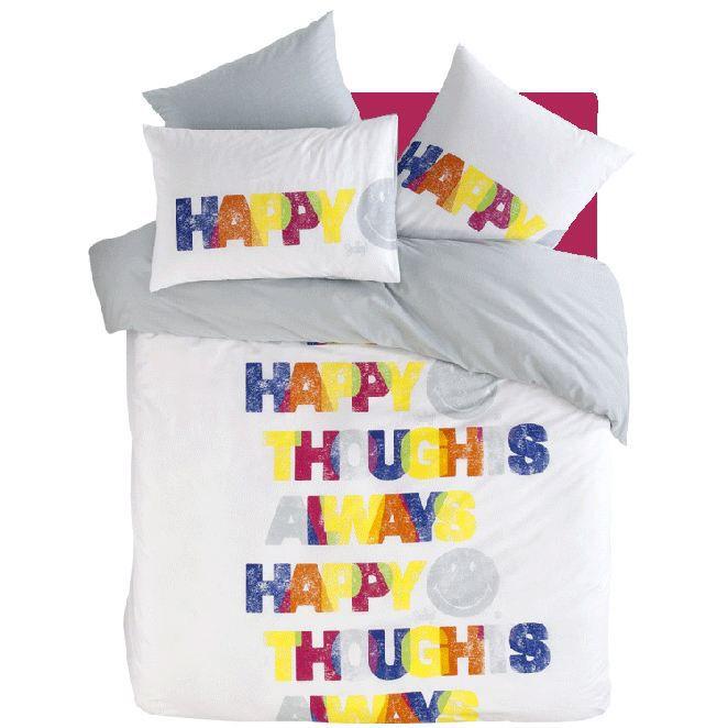 parure smiley happy thought 240x220 2 taie 63x63 achat vente parure de couette cdiscount. Black Bedroom Furniture Sets. Home Design Ideas