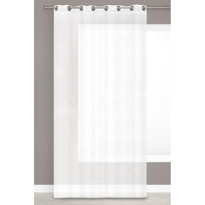 rideau voilage grande hauteur effet lin raye blanc achat vente rideau cdiscount. Black Bedroom Furniture Sets. Home Design Ideas