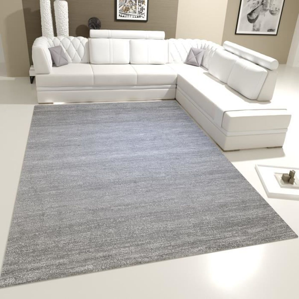 tapis de salon gris blanc achat vente tapis de salon gris blanc pas cher cdiscount. Black Bedroom Furniture Sets. Home Design Ideas