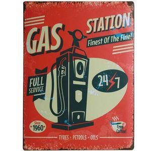 Deco plaques fer ou plaque emaillee  Plaque-metal-vintage-retro-station-service-30x40