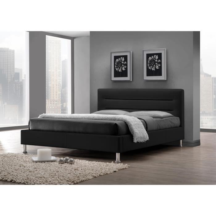 lit design fenix noir sommier 140x200cm promo achat vente lit complet lit design fenix. Black Bedroom Furniture Sets. Home Design Ideas