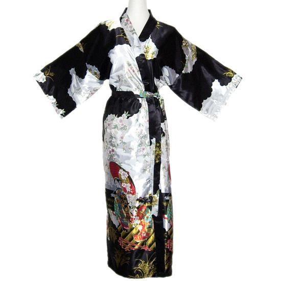 Robe de chambre japonaise satin noir xl xxl achat for Chambre de commerce franco japonaise