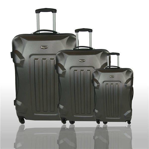 set de 3 valises legeres et robustes trolley co gris achat vente set de valises. Black Bedroom Furniture Sets. Home Design Ideas