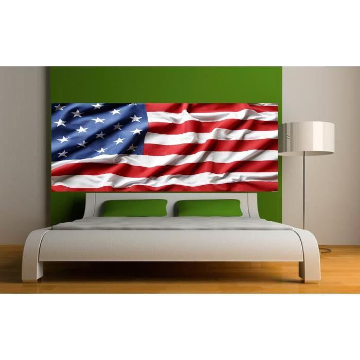 stickers t te de lit d co drapeau am ricain dimensions 220x86cm achat vente stickers vinyl. Black Bedroom Furniture Sets. Home Design Ideas