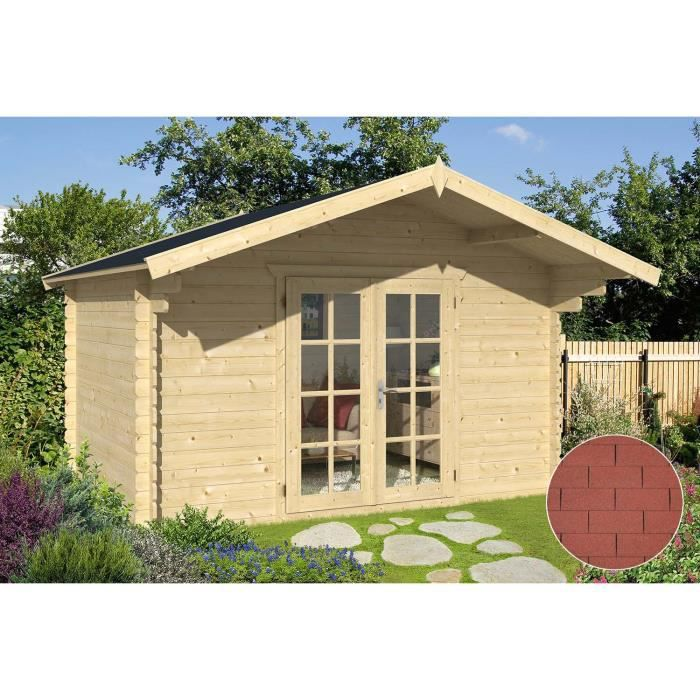 Abri de jardin en bois ancenis bardeau droit rouge achat vente abri jardi - Abri de jardin c discount ...