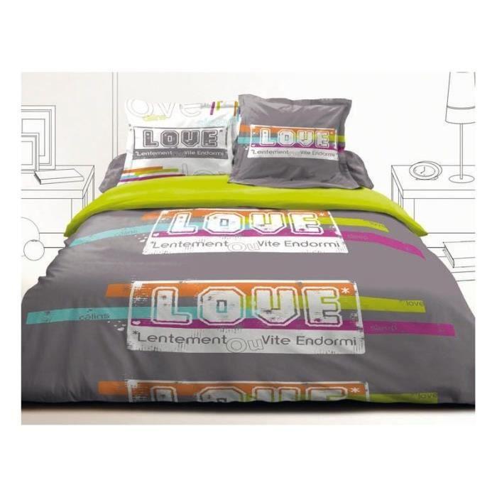 Parure de lit 2 personnes 100 coton 140 x 190 cm love achat vente parure de drap cdiscount - Parure de lit 2 personnes 100 coton ...