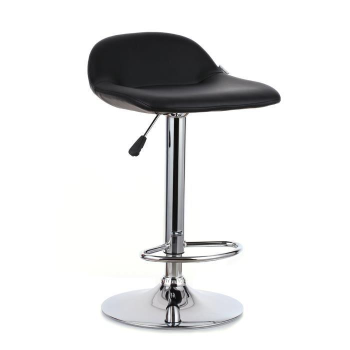 ikayaa chaise de bar noir 2pcs pu pivotante ergonomique r glable achat vente mange debout. Black Bedroom Furniture Sets. Home Design Ideas