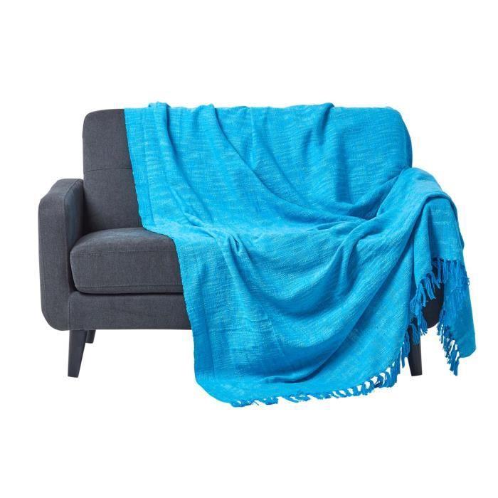 Jet de lit ou de canap nirvana 100 coton turquoise 225 x 255 cm achat vente jet e de lit for Boutis turquoise