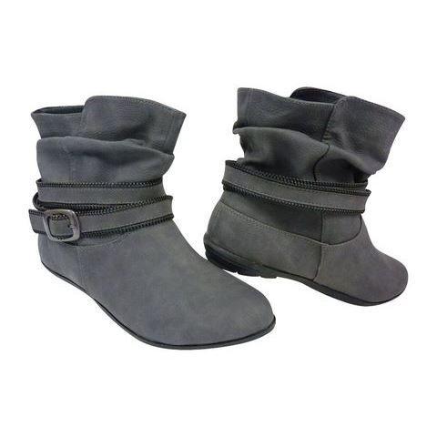 chaussures femme bottines plates a bout rond gris f  mp