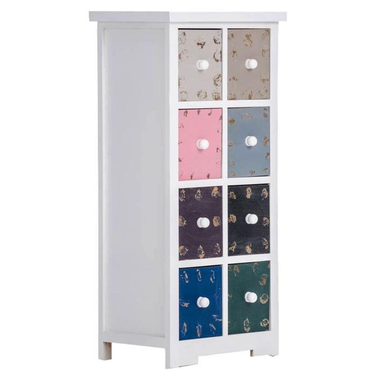 commode blanche avec 8 tiroirs multicolore en bois 86 5. Black Bedroom Furniture Sets. Home Design Ideas
