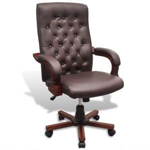 Fauteuil de bureau cuir et bois achat vente fauteuil for Fauteuil de bureau cuir et bois
