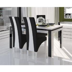 Table a manger avec chaises noir et blanc achat vente for Table de salle a manger noire