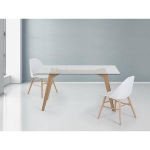 Table de salle manger table en verre 160x90 cm - Table de salle a manger en verre ikea ...