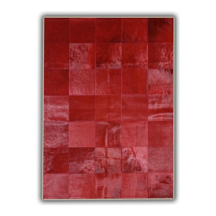 allotapis tapis rouge en peau de vache patchwork almeria 180x240cm rouge achat vente. Black Bedroom Furniture Sets. Home Design Ideas