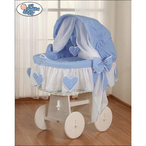 berceau et parure compl te c ur bleu ch ssis blanc achat vente berceau et support. Black Bedroom Furniture Sets. Home Design Ideas