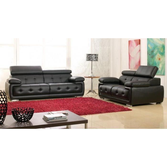 salon cuir noir san marco achat vente salon complet. Black Bedroom Furniture Sets. Home Design Ideas