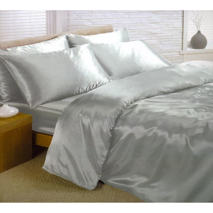 parure de lit satin 6 pcs gris argent lit 180 cm achat vente parure de drap cdiscount. Black Bedroom Furniture Sets. Home Design Ideas