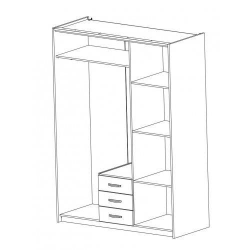 Armoire colorado 3 portes 3 tiroirs miroir achat vente armoire de cha - Armoire 3 portes avec miroir ...