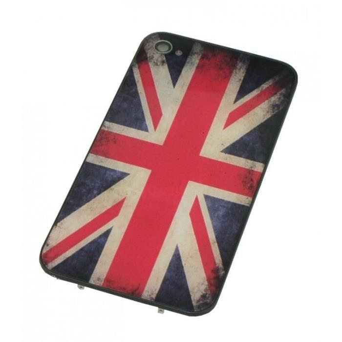 coque arri re drapeau anglais vintage uk en verre pour iphone 4 achat coque bumper pas cher. Black Bedroom Furniture Sets. Home Design Ideas