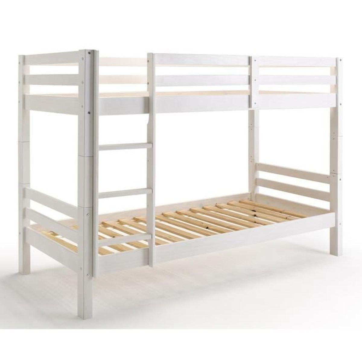 lit superpos gigogne pour enfant en bois coloris blanc dim h 114 x l 211 x p 100 cm achat. Black Bedroom Furniture Sets. Home Design Ideas