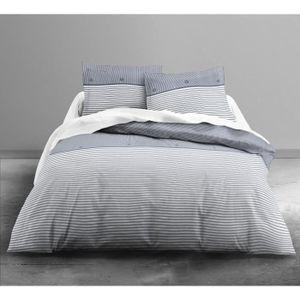 FINLANDEK Parure de couette Leea Abyss 100% coton - 1 housse de couette 240x260 cm + 2 taies 63x63 cm bleu et blanc