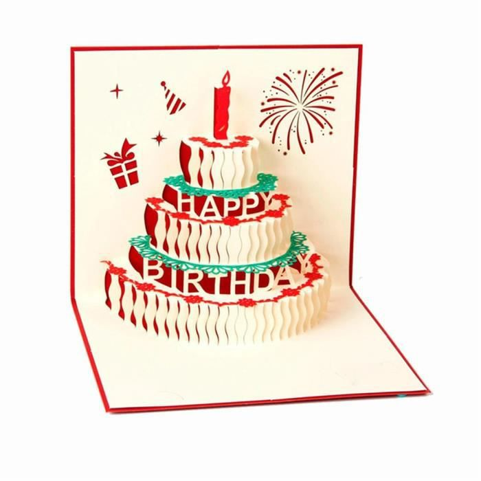 carte de voeux 3d bougies g teau pour anniversaire saint valentin mariage anniversaire achat. Black Bedroom Furniture Sets. Home Design Ideas