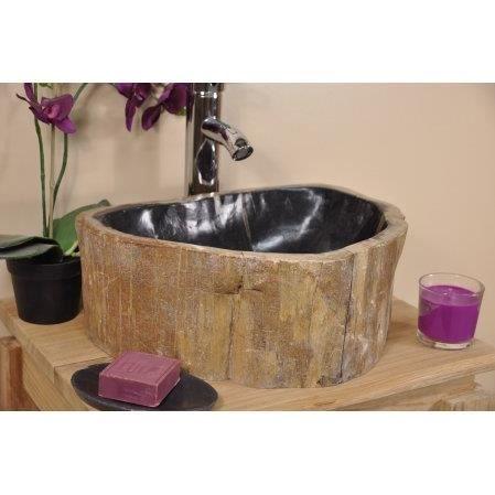 lavabo de salle de bain en bois p trifi fossil achat vente vier lavabo de salle de bain. Black Bedroom Furniture Sets. Home Design Ideas