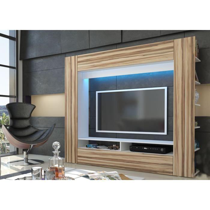Meuble tv mural blanc et bois nervur - Meuble tv mural cdiscount ...
