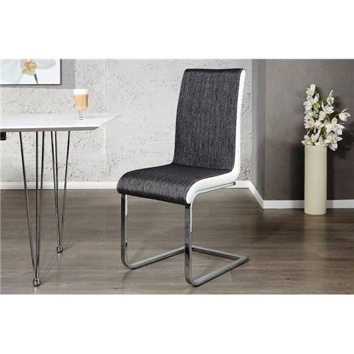 Chaises design metropoli blanc gris par 2 achat for Chaise design gris et blanc