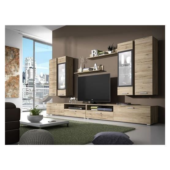 meuble tv design mural arann ii bois clair composition. Black Bedroom Furniture Sets. Home Design Ideas