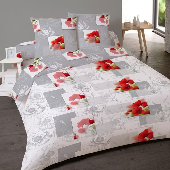 Parure de lit 4 pi ces coquelicot sauvage pour lit deux - Parure de lit deux personnes ...