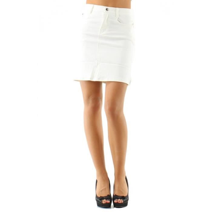 jupe toile jean blanche blanc achat vente jupe kilt soldes d hiver d s le 6 janvier. Black Bedroom Furniture Sets. Home Design Ideas