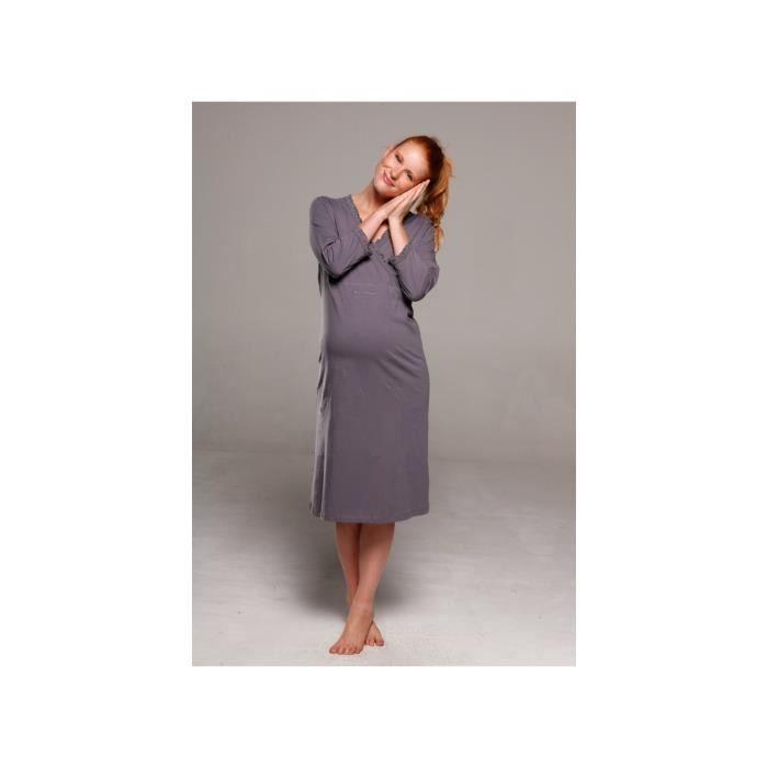 chemise de nuit chemises de nuit grossesse allaitement gris chaud achat vente pyjama. Black Bedroom Furniture Sets. Home Design Ideas