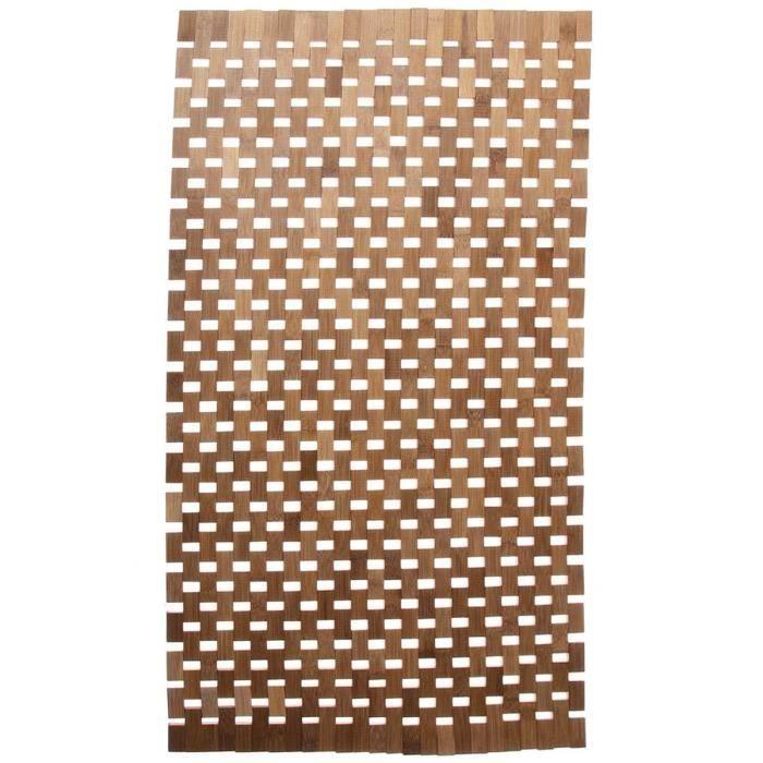 Tapis de salle de bain bambou beige achat vente for Tapis bambou salle de bain