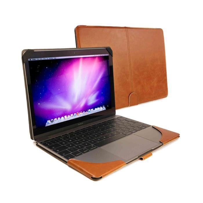 informatique accessoires tablettes tactiles etui housse en cuir pour macbook  marron f tuf