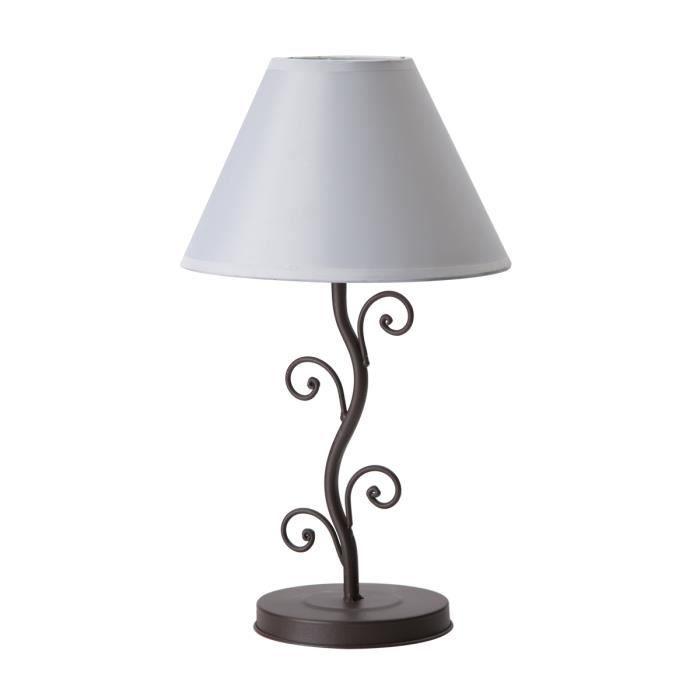 Lampe de chevet pied m tal abat jour blanc 20x20x33cm - Abat jour lampe de chevet ...