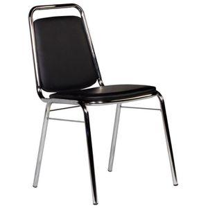 Chaise salle a manger noir et chrome achat vente for Chaise noir salle a manger
