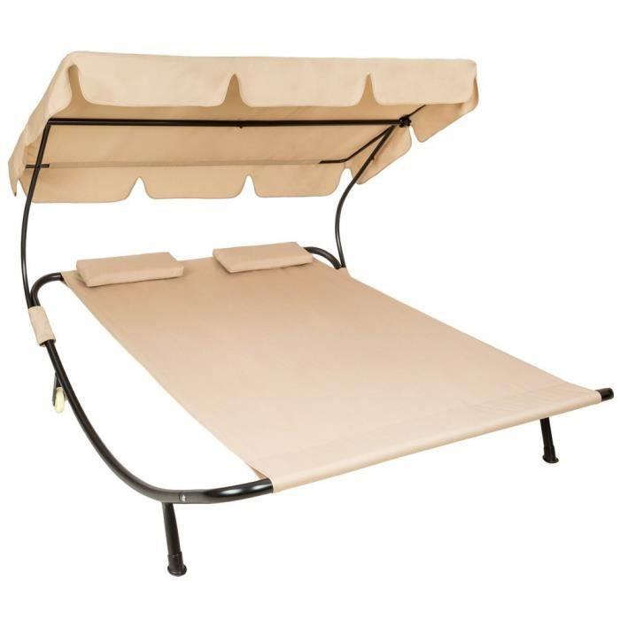 Transat hamac bascule 2 places avec pare soleil beige for Chaise longue avec pare soleil