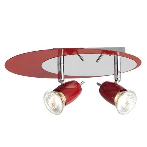 BRILLIANT Plafonnier à 2 lumières rouge et chrome 40W