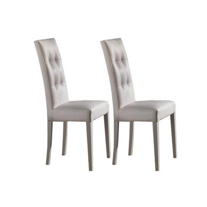 lot de 2 chaises design italienne four seasons en simili cuir blanc et pi tement laqu blanc. Black Bedroom Furniture Sets. Home Design Ideas