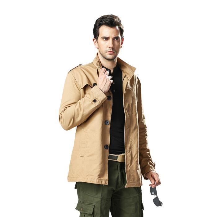 hommes veste d contract e coton lav la veste coupe vent kaki achat vente manteau caban. Black Bedroom Furniture Sets. Home Design Ideas