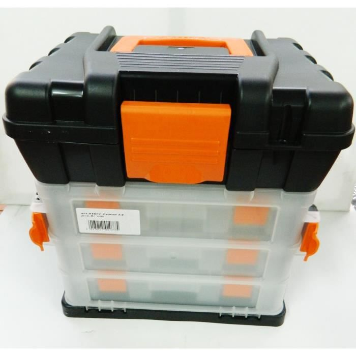 bo te outils plastique organiseur 3 casiers rangement caisse 34x33cm malette achat vente. Black Bedroom Furniture Sets. Home Design Ideas