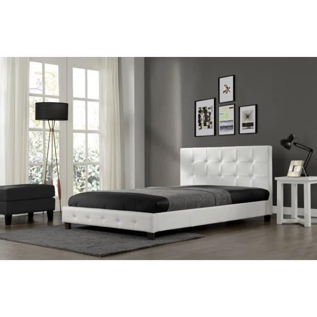 Magnifique lit palace 140x190cm cadre de lit en pu cuir capitonn blanc a - Lit en cuir capitonne ...