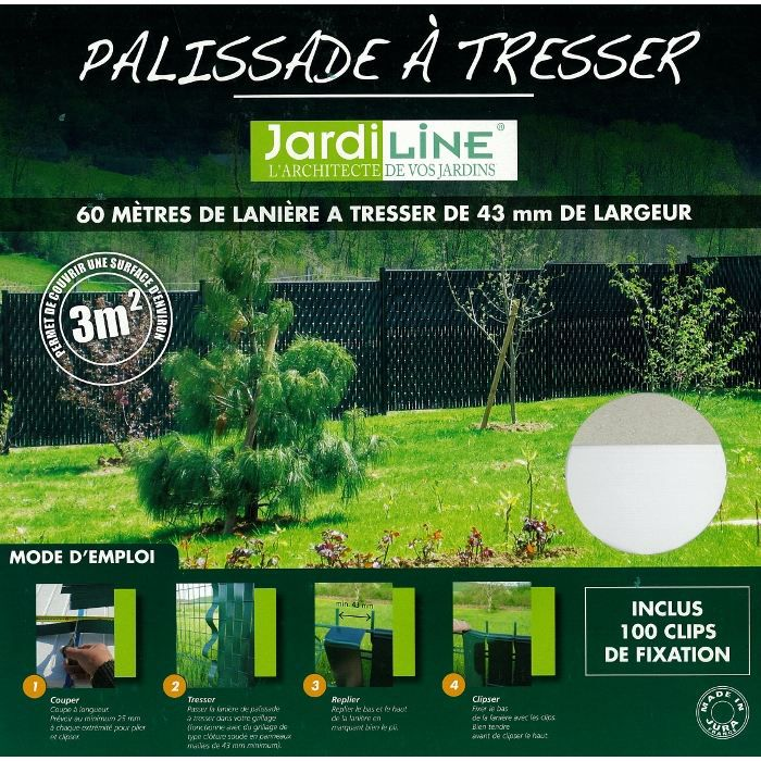 Lani re pour palissade tresser 60 m achat vente cl ture grillage lani re pour for Achat palissade jardin