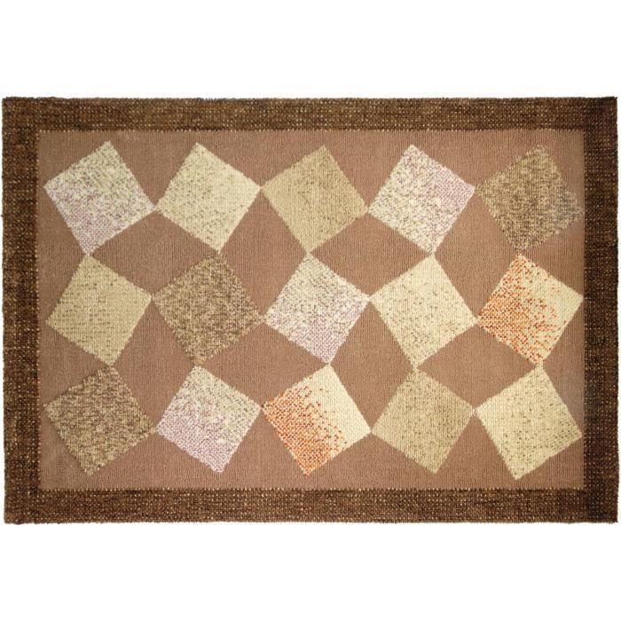 tapis dama marron 626 vierge 100 90 x 160cm achat vente tapis cadeaux de no 235 l cdiscount