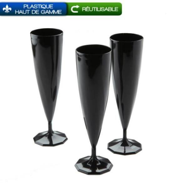 10 fl tes champagne en plastique noir b ne 13cl achat vente verre jetable cdiscount. Black Bedroom Furniture Sets. Home Design Ideas