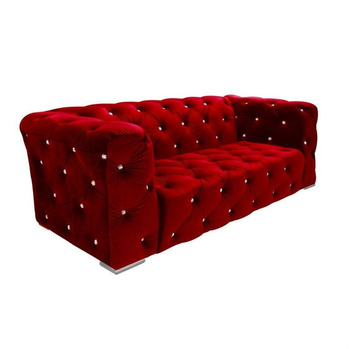 Canap chesterroyal 3 places velours rouge achat vente canap sofa di - Canape rouge velours ...