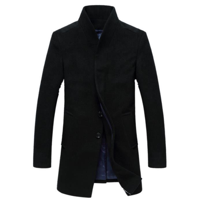 duffle coat noir long manteau blouson veste homme noir noir achat vente manteau caban. Black Bedroom Furniture Sets. Home Design Ideas