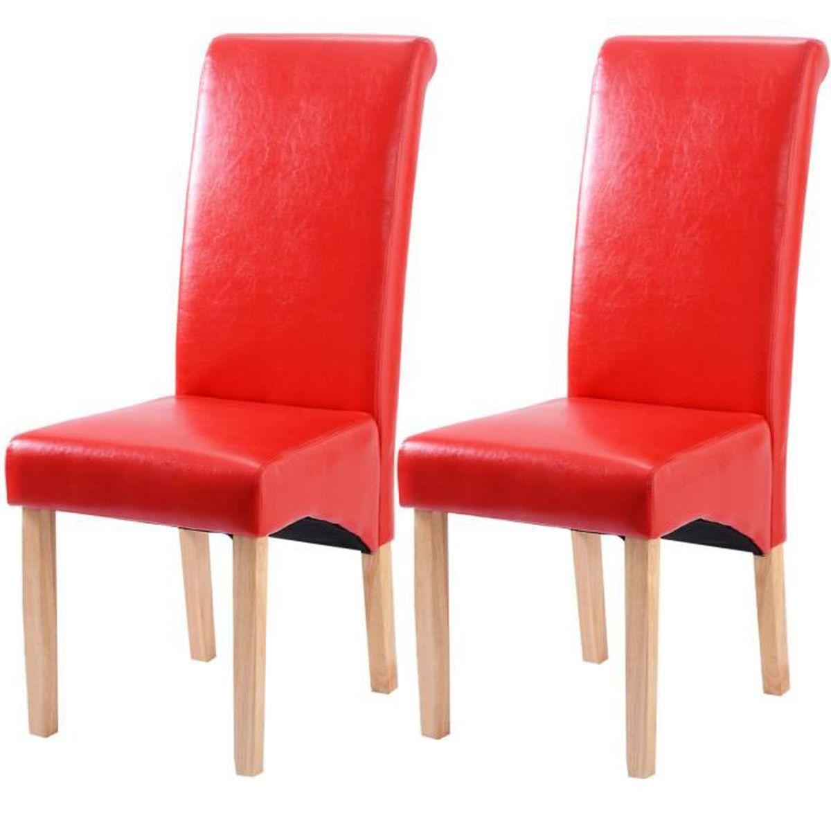 Lot de 2 chaises de salle manger chaise cuisine pieds en for Chaise rouge salle a manger
