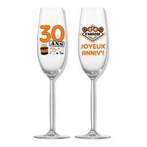 COFFRET THÉMATIQUE Flûtes à champagne anniversaire 30 ans